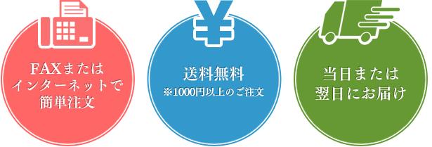 FAXまたはインターネットで 簡単注文 送料無料 ※1000円以上のご注文 当日または翌日にお届け